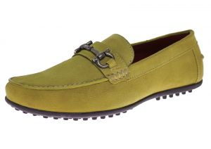 Mens Suede Leather Shoe Kimo Slip-On Driving Moccasin Lime Yellow by Luciano Natazzi