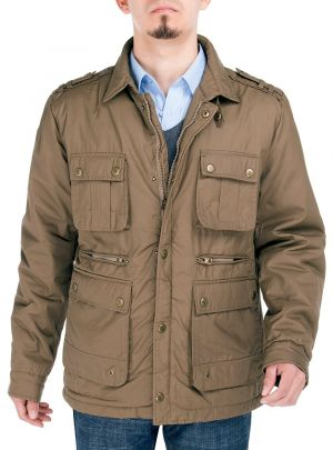 Mens Slim Fit Utilitarian Padded Coat Six-Pocket Jacket Olive Brown by Luciano Natazzi