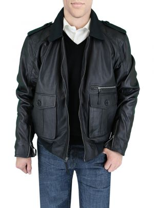 Mens Fine Leather Jacket Black by Luciano Natazzi