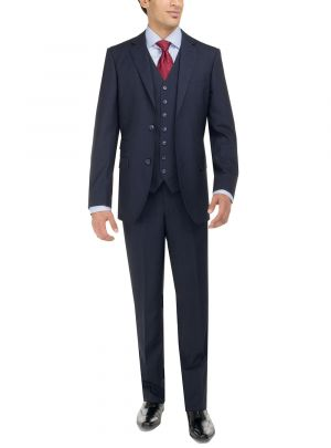 Two Button Birds Eye 3 Piece Modern Fit Vested French Blue by Luciano Natazzi
