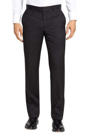 Mens GV Executive Italian Dress Pants Wool Comfort Modern Fit Flat Front Black by DTI DARYA TRADING