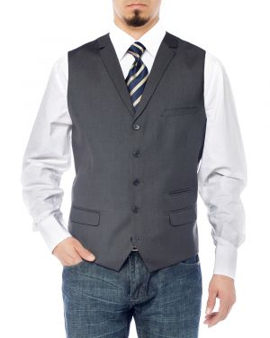 Mens Notch Lapel Casual Vest Modern Fit Dress Suit Waistcoat Charcoal by Salvatore Exte