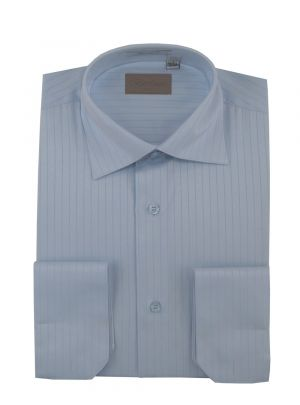 Mens DTI Dress Shirt Spread Collar 100% Cotton Convertible Cuffs Narrow Stripe Blue by Darya Trading