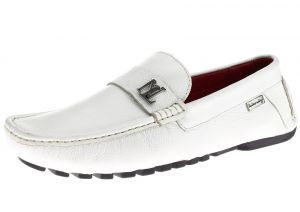 Mens Air Grant Canoe Leather Shoes Original Slip-on Driving Loafer White by Luciano Natazzi