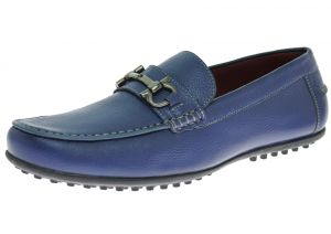 Mens Leather Shoe Kenzo Slip-On Driving Moccasin Loafer Blue by Luciano Natazzi