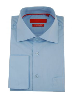 Mens GV Executive Modern Spread Collar French Cuff Cotton Dress Shirt Medium Blue by DTI DARYA TRADING