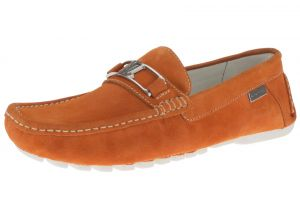Orange Slip-on Loafer Penny Comfort Leather Driving Shoes