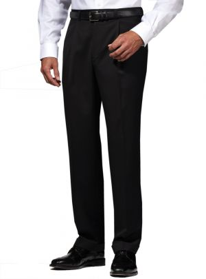 Mens Suit Dress Pants Separates Slacks Pleated Trouser Jet Black by Darya Trading