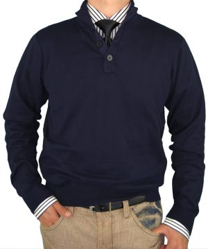 Mens Classic Fit Button Mock Neck Sweater Elbow Cotton Cashmere Touch Navy by Luciano Natazzi