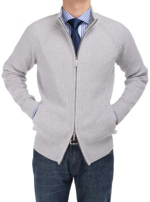 Mens BB Signature Cotton Mock Neck Full Ribbed Zip Cardigan Sweater Gray by DTI DARYA TRADING