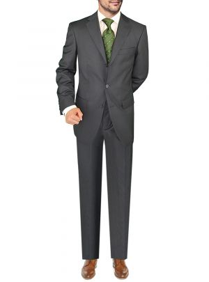 Three Button Jacket Side Vents Pleated Pants Charcoal by Giorgio Napoli