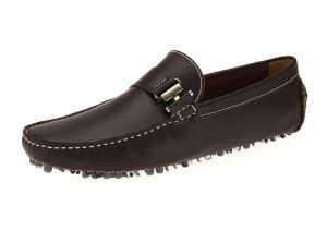 Coffee Slip-on Loafer Mario Leather Driving Shoe