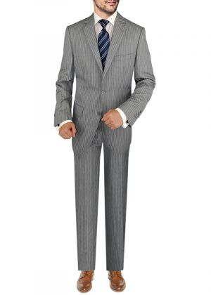 BB Signature Italian 3 Piece Wool Set Jacket Pant Extra Trousers Gray Stripe by DTI DARYA TRADING