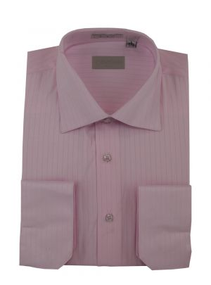 Mens DTI Dress Shirt Spread Collar 100% Cotton Convertible Cuffs Narrow Stripe Pink by Darya Trading