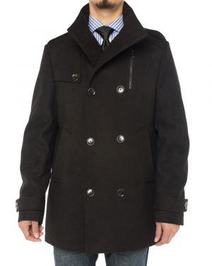 Mens Stylish Top Coat Classic Double Breasted Pea Black by Luciano Natazzi