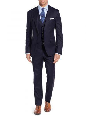 Vested Three Piece Blazer Jacket Dress Vest Plus Pant Modern Fit Navy by Salvatore Exte