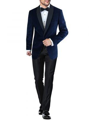 Mens BB Signature One Button Shawl Lapel Velvet Tuxedo Suit Blue by DTI DARYA TRADING