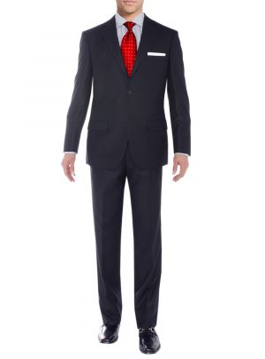 Two Button Side Vent Jacket Flat Front Pants Sharkskin Navy by Salvatore Exte