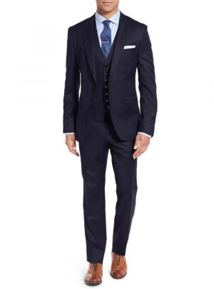 3-piece Vested Set 2 Button Blazer Pants Plus Tux Vest Navy by Salvatore Exte