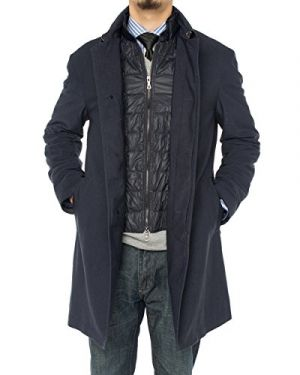 Mens Modern Fit Insulated Lining Walker Coat Navy Blue by Luciano Natazzi
