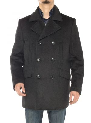 Mens Stylish Wool Top Coat Modern Fit Double Breasted Pea Charcoal Gray by Luciano Natazzi