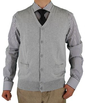 Mens Classic Fit Cotton Cashmere Touch Sweater Vest Light Gray by Luciano Natazzi