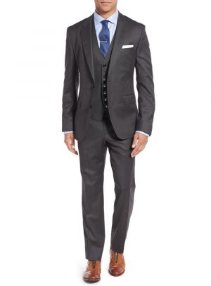 3-piece Vested Set 2 Button Blazer Pants Plus Tux Vest Charcoal by Salvatore Exte