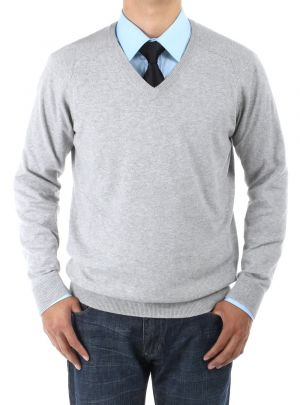 Mens V-neck Cotton Sweater Relaxed Fit Light Gray by Luciano Natazzi