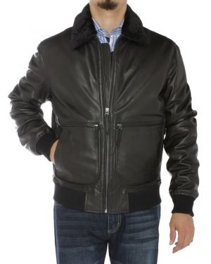 Mens Nappa Leather Flight Bomber Jacket Black by Luciano Natazzi