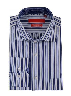 Mens GV Executive Modern 100% Cotton Dress Shirt Striped White Blue by DTI DARYA TRADING