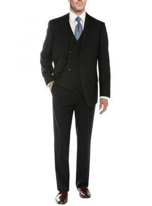Vested 2 Button 3 Piece Blazer Vest Flat Front Pants Black by Salvatore Exte