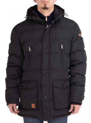 Mens Down Jacket Thermal Padded Classic Oxford Parka Coat Black by Luciano Natazzi