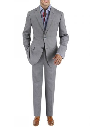 BB Signature Men's Modern Fit 2 Button Italian Linen Suit Gray by DTI
