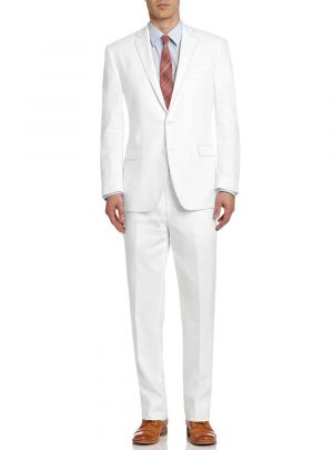 BB Signature Men's Modern Fit Two Button Italian Linen Wedding Suit Snow White by DTI