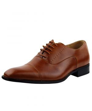 Mens DTI Oxford Shoes Milano Faux Leather Dress Lace-Up Cap-toe TR6859-6 Tan Rust by Darya Trading