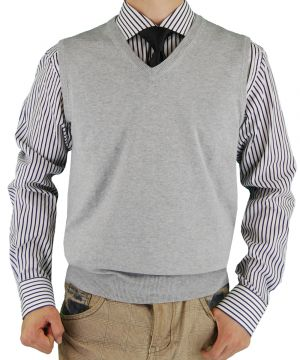 Mens Classic Fit V-neck Sweater Vest Light Gray by Luciano Natazzi