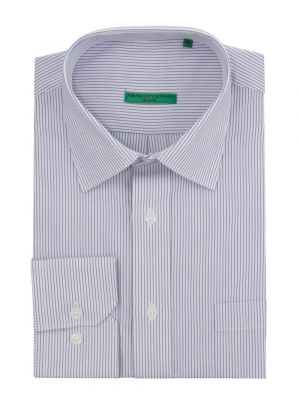 Mens BB Signature Modern Classic Fit 2 Ply Pure Cotton Striped Dress Shirt White Navy by DTI DARYA TRADING