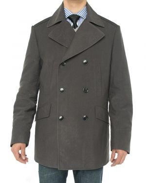 Mens Double Breasted Top Coat Modern Fit Pea Charcoal Gray by Luciano Natazzi