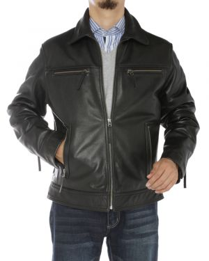 Mens Full Grain Cow Leather Jacket Black by Luciano Natazzi