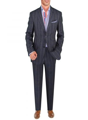 BB Signature Men's Modern Fit 2 Piece Italian Linen Suit Navy Windowpane by DTI