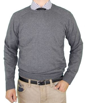 Mens Classic Fit Crew Neck Premium Cotton Sweater With A Cashmere Touch Charcoal by Luciano Natazzi