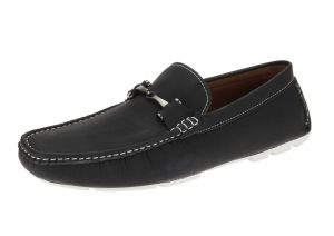 Black Slip-on Loafer Designer Faux Leather Driving Shoe
