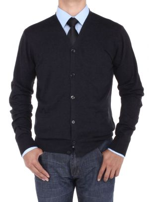 Mens Cotton Cardigan Sweater Relaxed Fit Black by Luciano Natazzi
