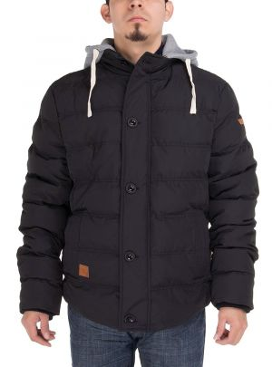 Mens Thermal Padded Down Jacket Removable Hood Treaty Coat Black by Luciano Natazzi