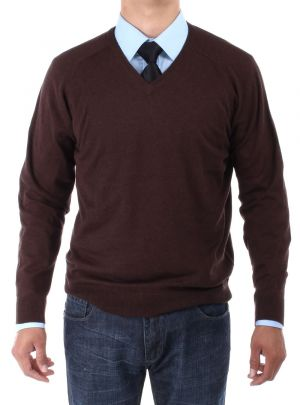 Mens V-neck Cotton Sweater Relaxed Fit Chocolate by Luciano Natazzi