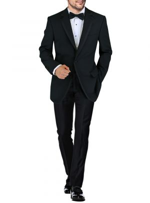Mens BB Signature Two Button Notch Lapel Wool Tuxedo Suit Black by DTI DARYA TRADING