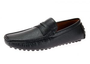 Black Slip-on Loafer Comfortable Faux Leather Shoe