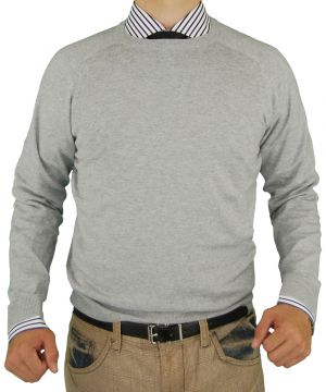 Mens Crew Neck Cotton Sweater Cashmere Touch Slim Fit Gray by Luciano Natazzi