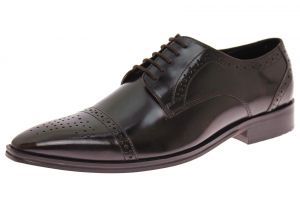 Mens Handmade Leather Shoe Dolce Antique Finish Captoe Lace-up Ox-Brown by Luciano Natazzi