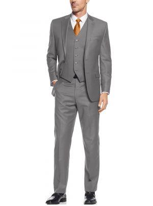 Vested Three Piece Blazer Jacket Dress Vest Plus Pant Gray by Salvatore Exte